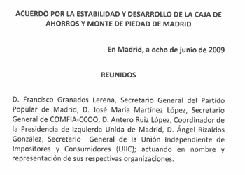 Pacto de Estabilidad en Caja Madrid 2009