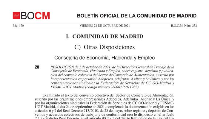 Convenio comercio alimentación Madrid