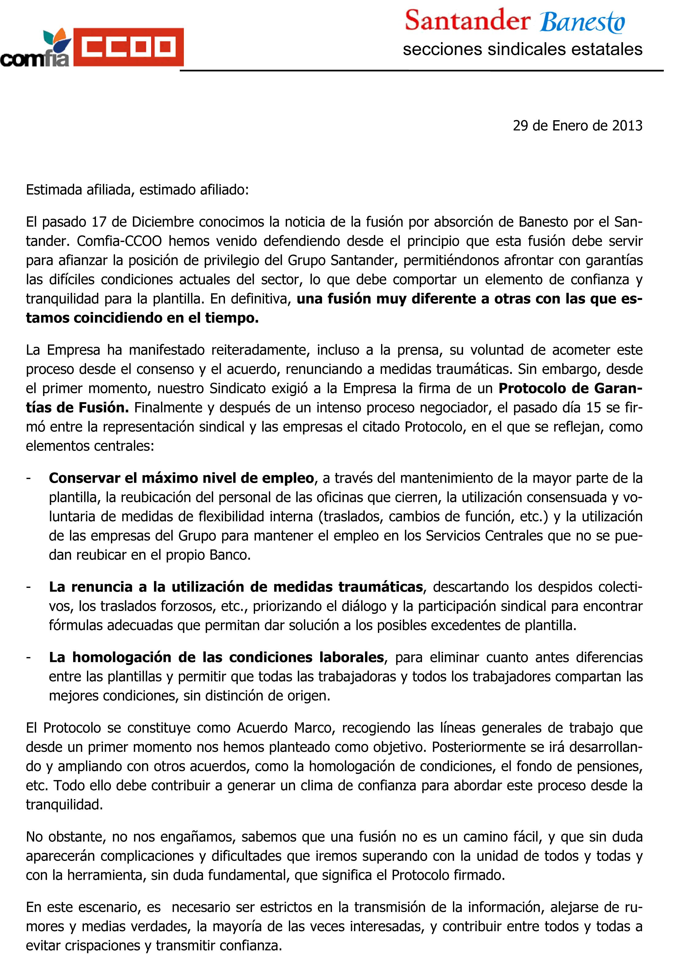 Carta de los Secretarios Generales de Comfia-CCOO de Santander y ...
