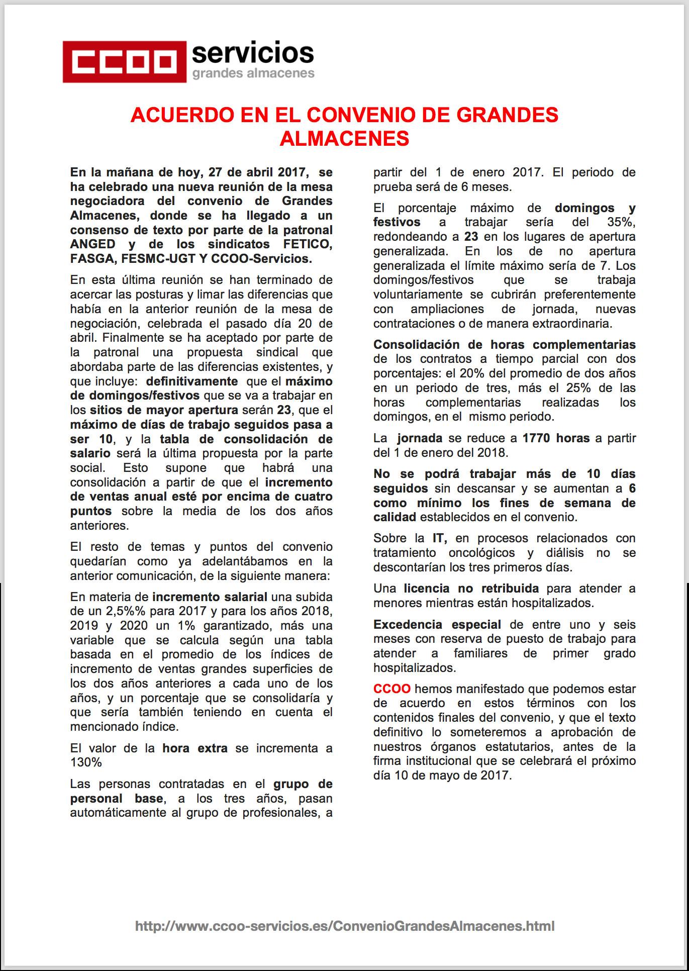 Pagina 1 del Octavo comunicado GGAA. Firma Convenio de grandes almacenes