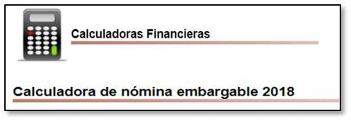 Calculadora nómina embargable 2018