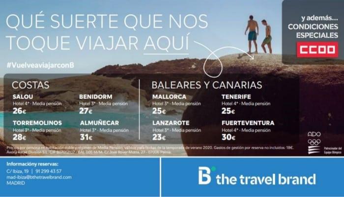 Oferta viajes Barceló para afiliación CCOO