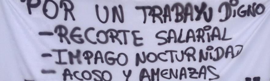 Huelga en Burger King (Gijón), detalle pancarta.