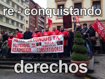 Trabajadores del Hotel de la Reconquista de Oviedo en defensa de sus derechos.