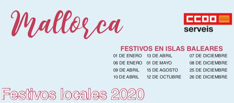 Calendario festivos laborales Islas Baleares