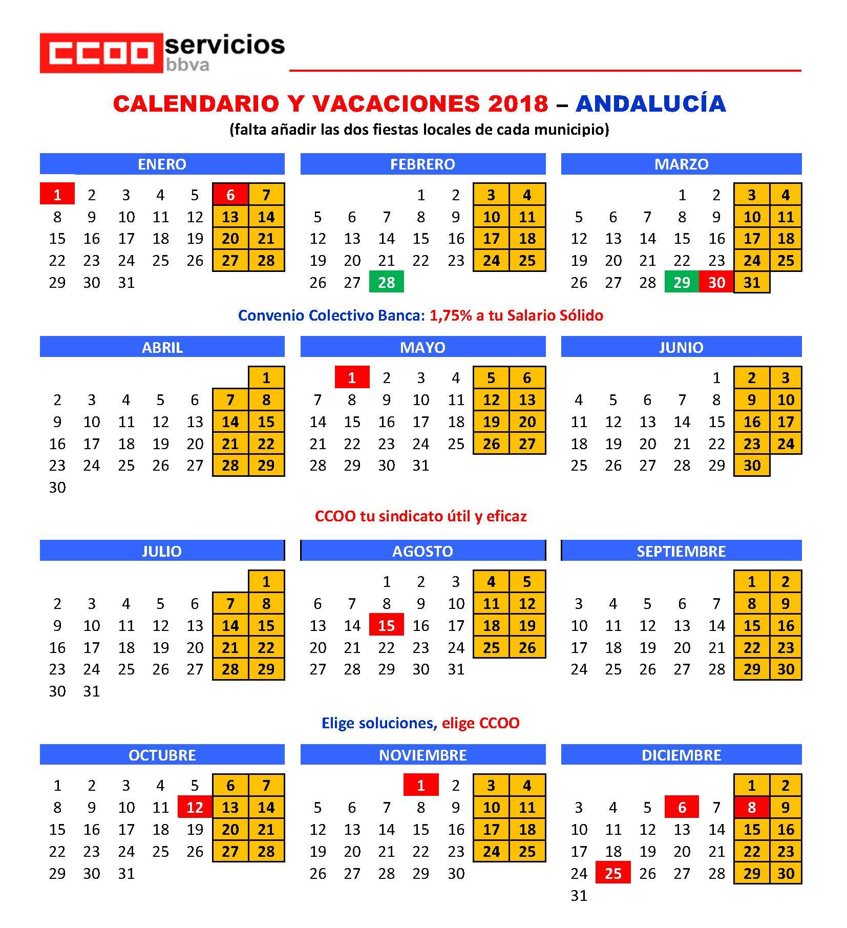 Calendario Laboral De Cataluna.Calendario Laboral 2018