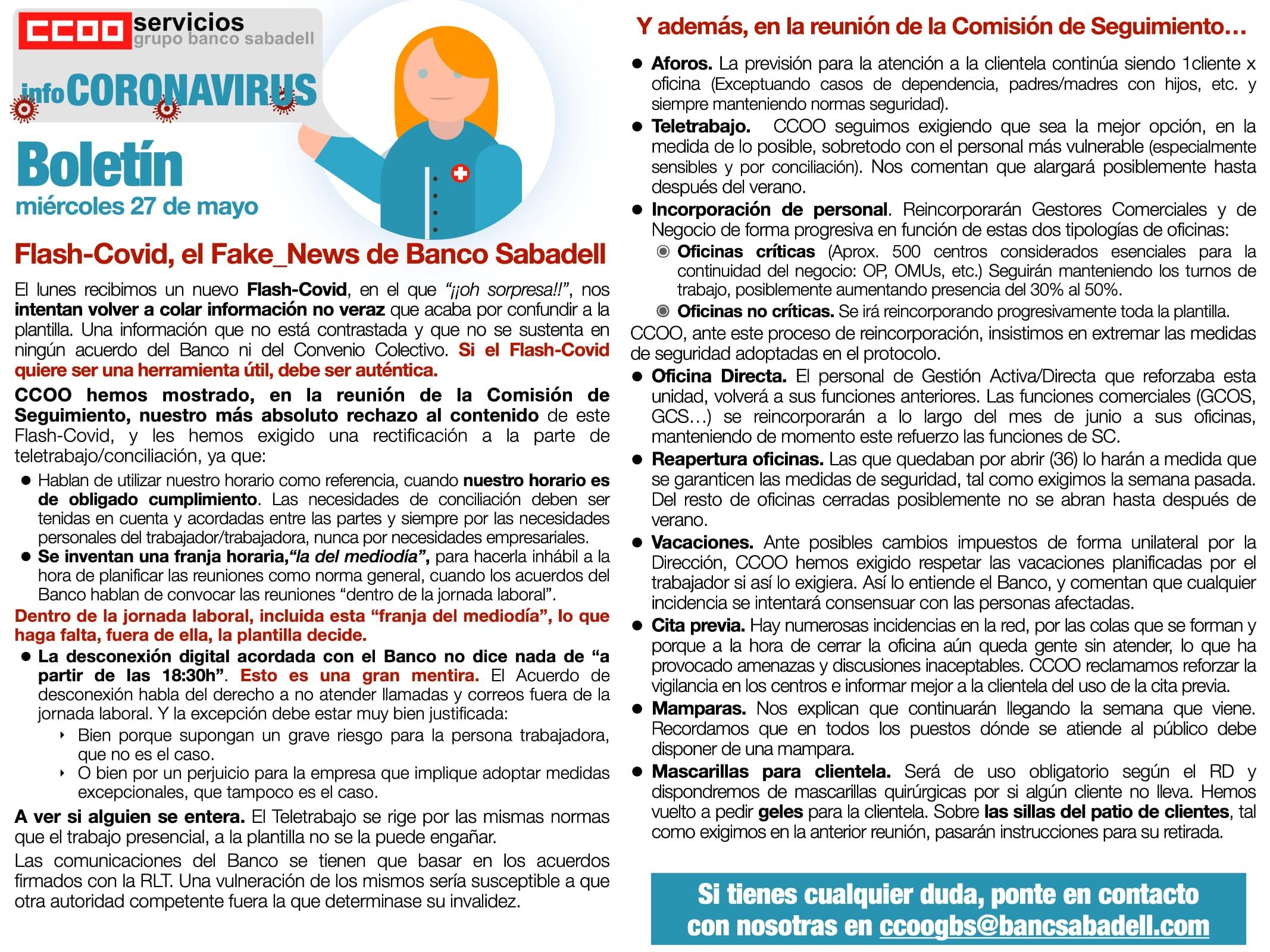 Boletin Coronavirus Banc Sabaell segunda