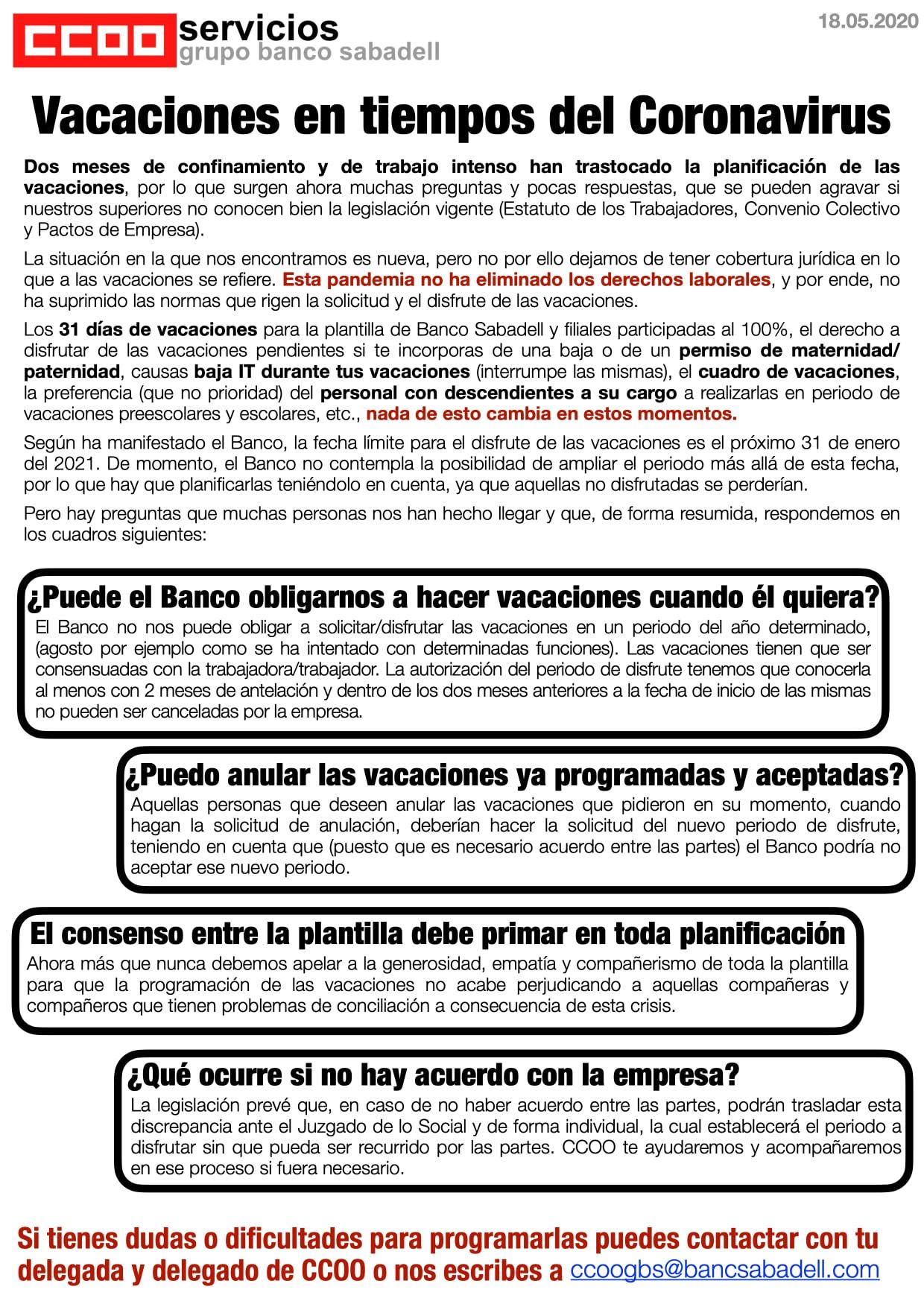 Boletin vacaciones Banc Sabadell segunda parte
