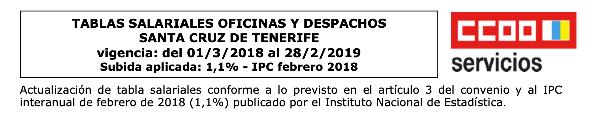 tablas salariales de Oficinas y Despachos de Tenerife