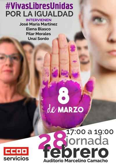 Acto huelga mujeres federación servicios de CCOO