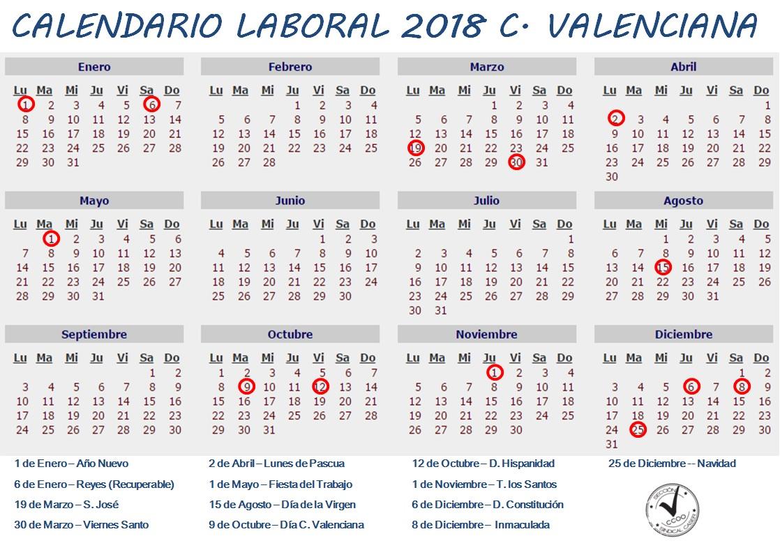 Calendario Laboral De Valencia.Calendario Laboral 2018 C Valenciana