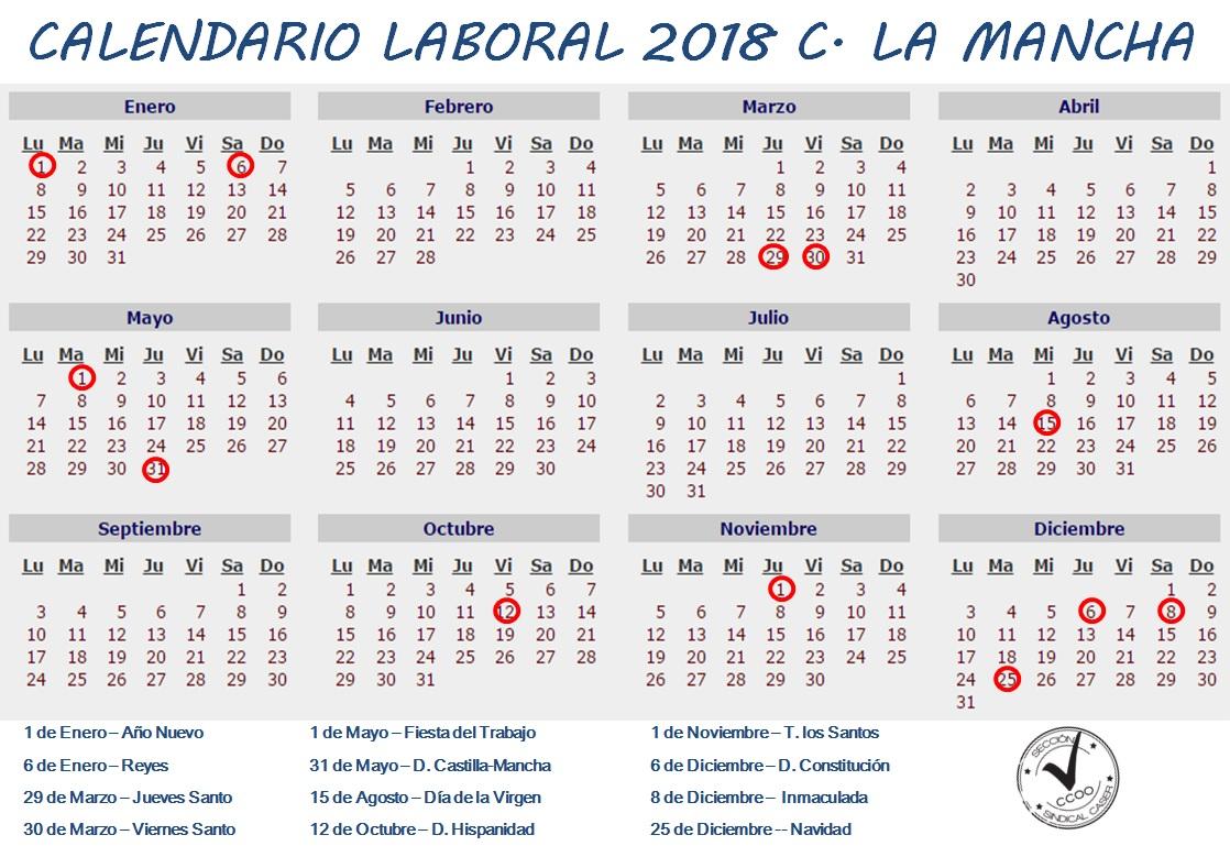 Calendario Laboral 2019 Ciudad Real.Calendario Laboral 2018 Castilla La Mancha
