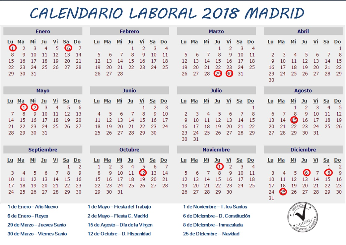 Calendario Laboral Comunidad De Madrid.Calendario Laboral 2018 Comunidad De Madrid