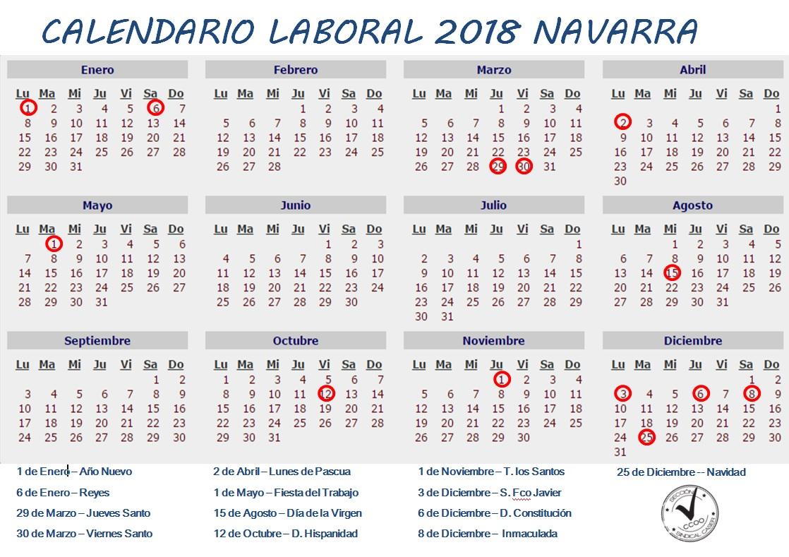 Calendario Laboral Navarra.Calendario Laboral 2018 Navarra