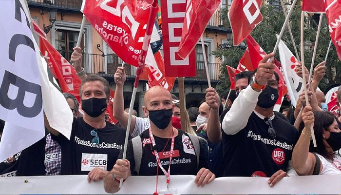 Huelga y multitudinaria movilización en CLM y en España contra el ERE de Caixabank