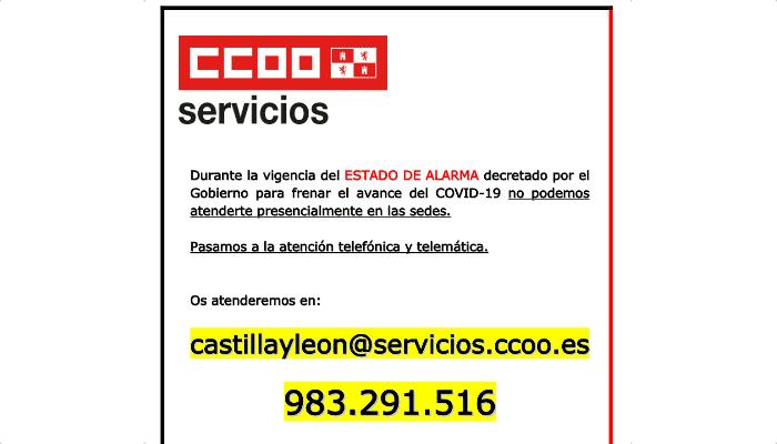 Atencion de CCOO en crisis Coronavirus Castilla y León