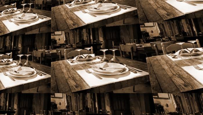 Restaurante, platos y cubiertos