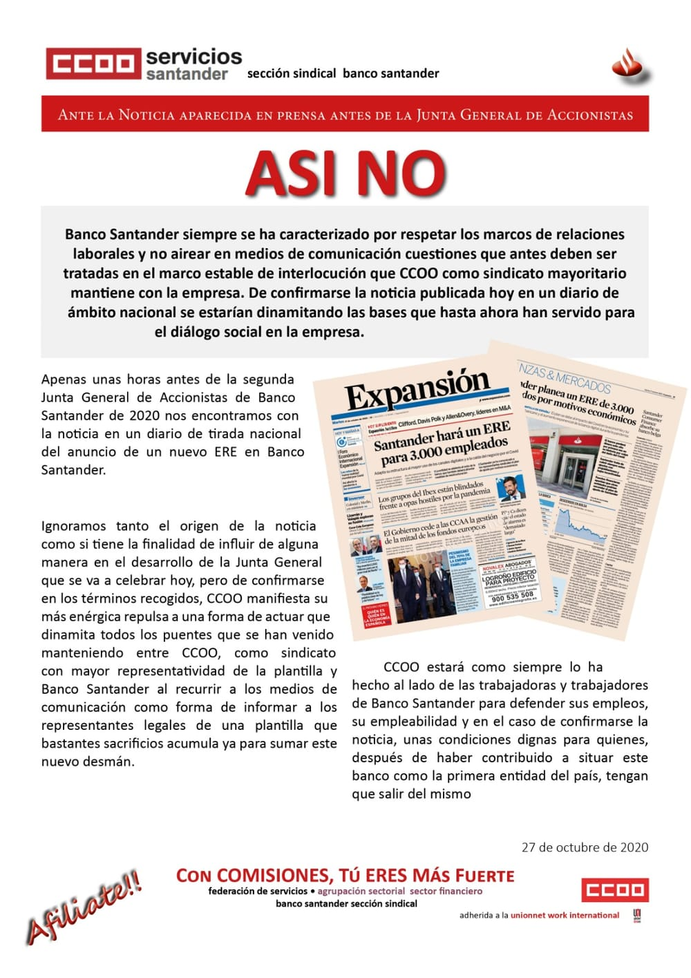 Comunicado ERE Santander