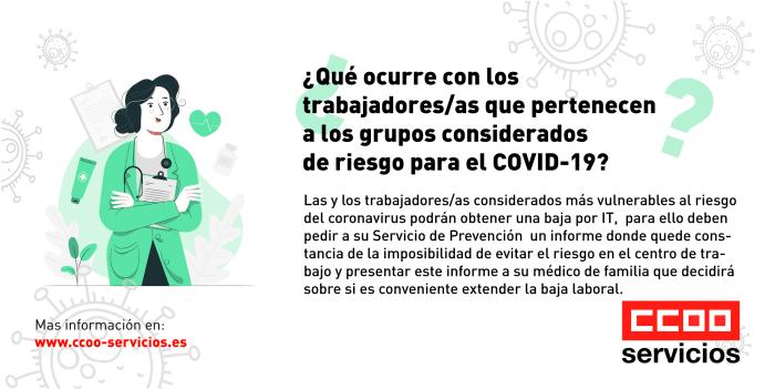 trabajadores y trabajadoras que pertenecen a los grupos considerados de riesgo para el COVID-19