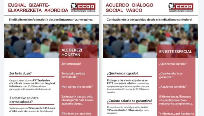 Firmado acuerdo Gobierno Vasco, Confebask, CCOO y UGT, para trabajadores y trabajadoras en ERTE de Fuerza Mayor o causales