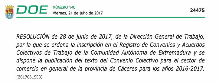 Convenio Comercio Cáceres