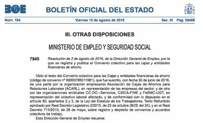 Boletin Oficial Estado. Convenio Colectivo Ahorro