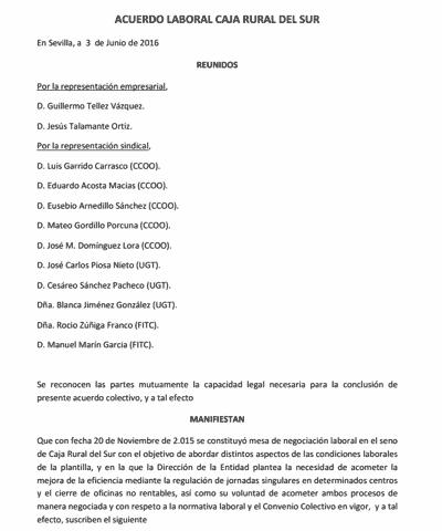 Acuerdo Caja Rural Sur