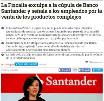 Venta de productos financiero. Exculpada cupula Santander