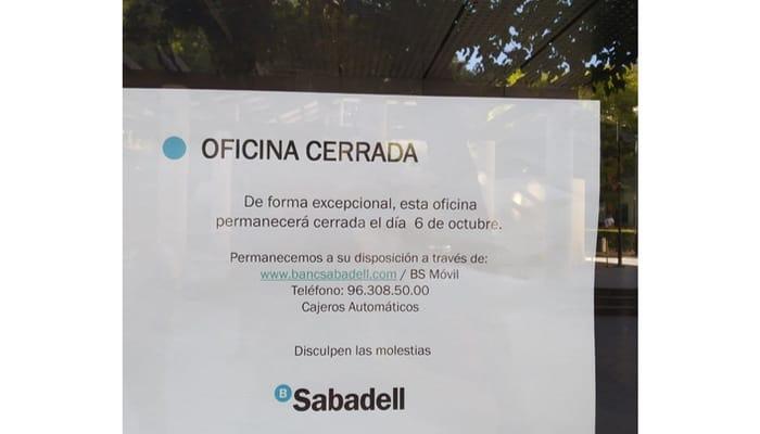 Cierre oficina Sabadell Huelga