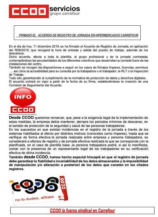REgistro de jornada Carrefour hipermercados