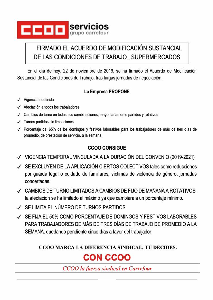 Modificacion sustancial condiciones de trabajo. Carrefour
