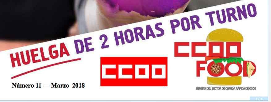 CCOO Food revista de Comida rápida