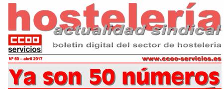 Boletín Hostelería Sindical CCOO número 50.