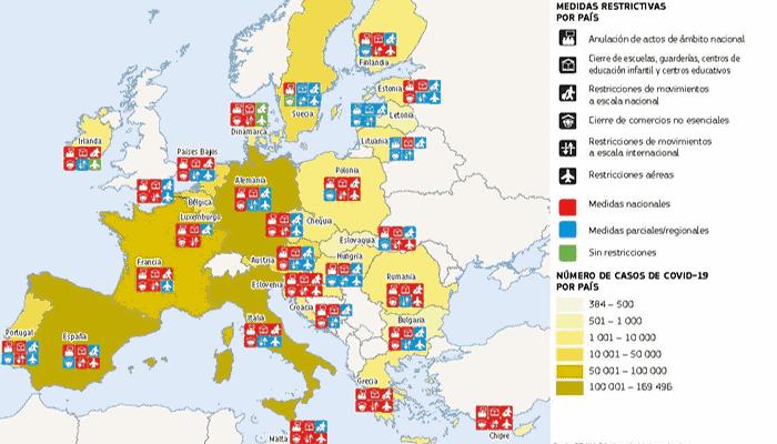 mapa europa hosteleria Covid