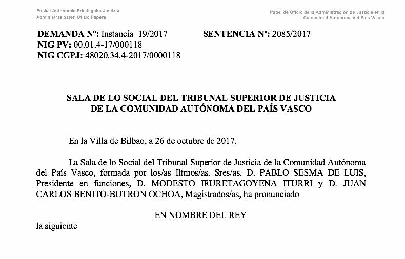 sentencia Euskadi hostelería