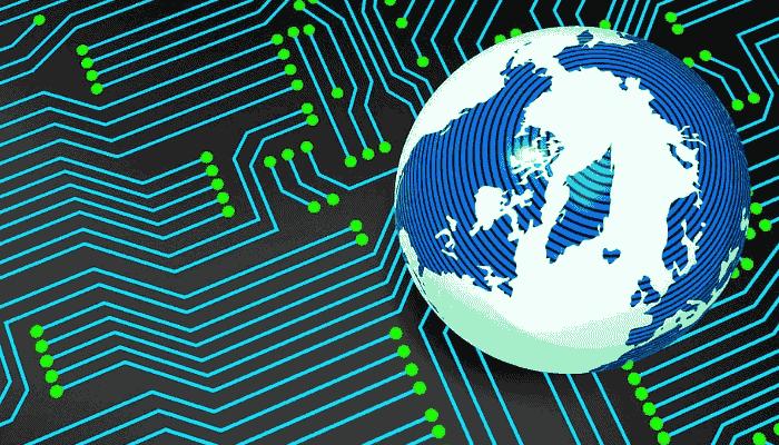 Imagen de circuito y mundo. Información Internacional