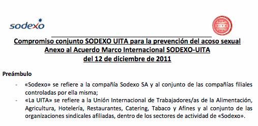 Compromiso para la prevención del acoso sexual Sodexo UITA