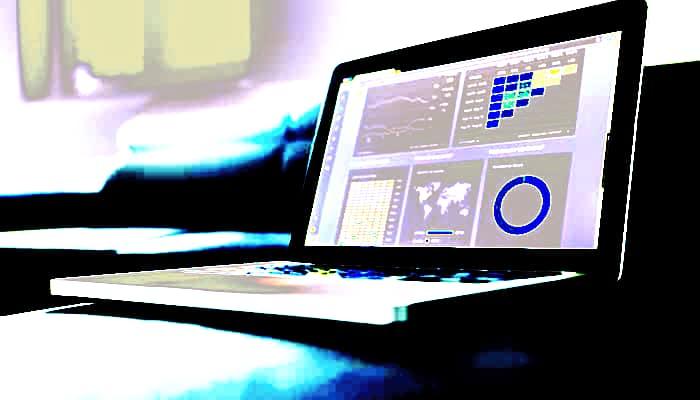 Laptop graficos sector financiero