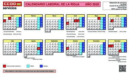 Calendario laboral 2020 La Rioja