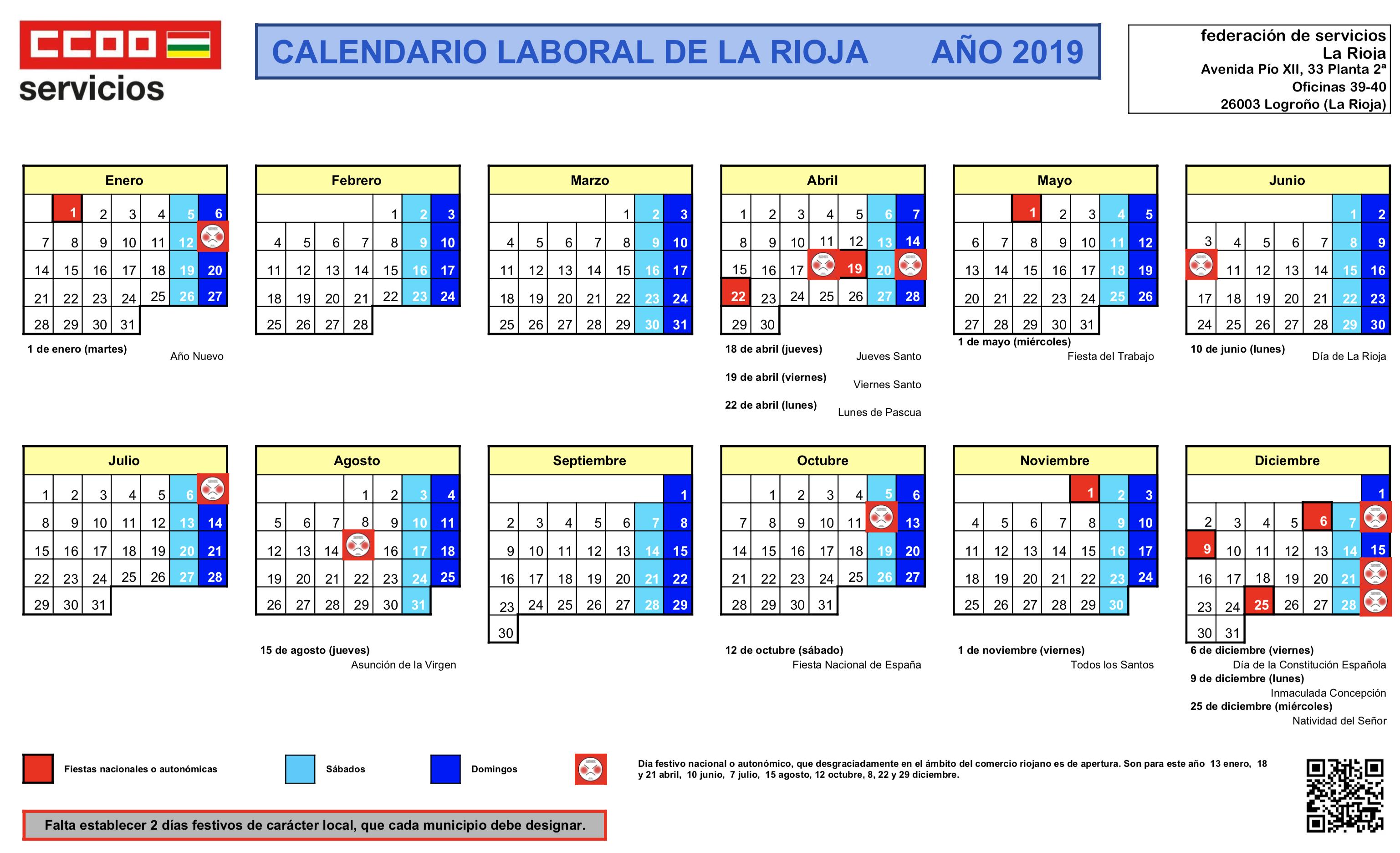 calendario laboral 2019 la rioja