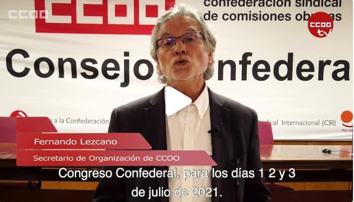Fernando Lezcano anuncia convocatoria 12 Congreso CCOO