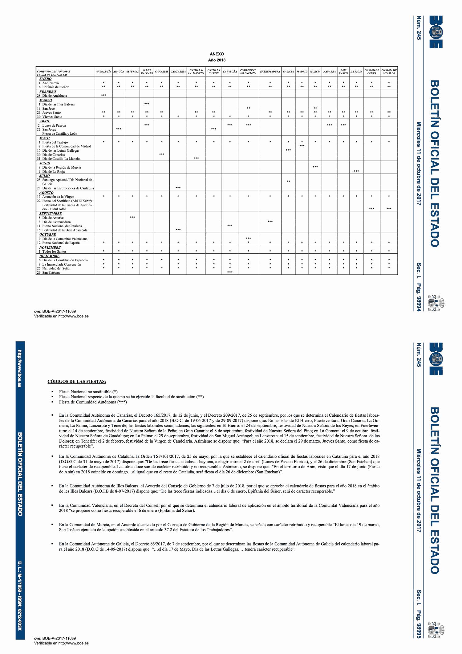 Calendario Laboral Gipuzkoa 2019.Calendario Laboral 2018