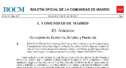 Publicada La Revision Salarial Del Convenio De Oficinas Y Despachos