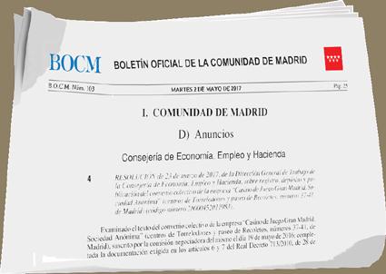 Publicado En El Bocm El Convenio De Juego Gran Casino De Madrid