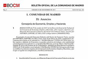 Boletin oficial convenio comercio Madrid