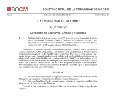 img portada BOCM Convenio Comercio textil