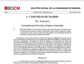 Boletin oficial Convenio Hospedaje Madrid