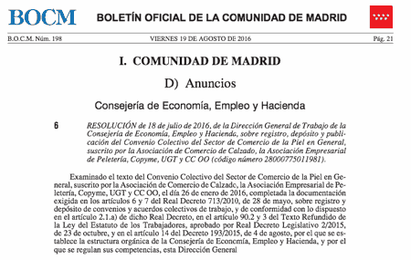 Convenio Colectivo del Sector de Comercio de la Piel en General Madrid
