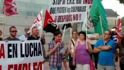 Manifestación contra ERE Indra