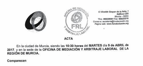 Acta convenio Comercio Murcia